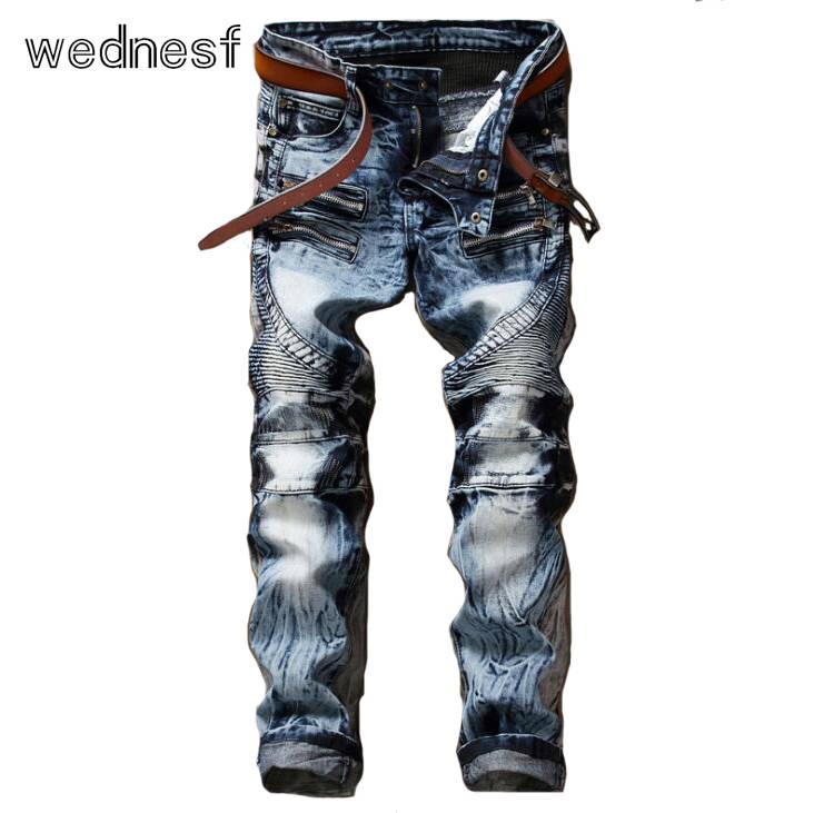 #1917 Patchwork Punk denim jeans men Fashion Hip hop jeans Slim fit Straight Distressed Mens printed jeans Ripped jeans for men