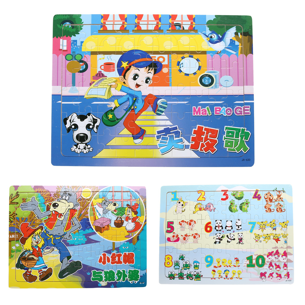 60pcs Cartoon Wooden Jigsaw Puzzles for Children Kids Toys brinquedos Toys for Children Baby Toys Educational