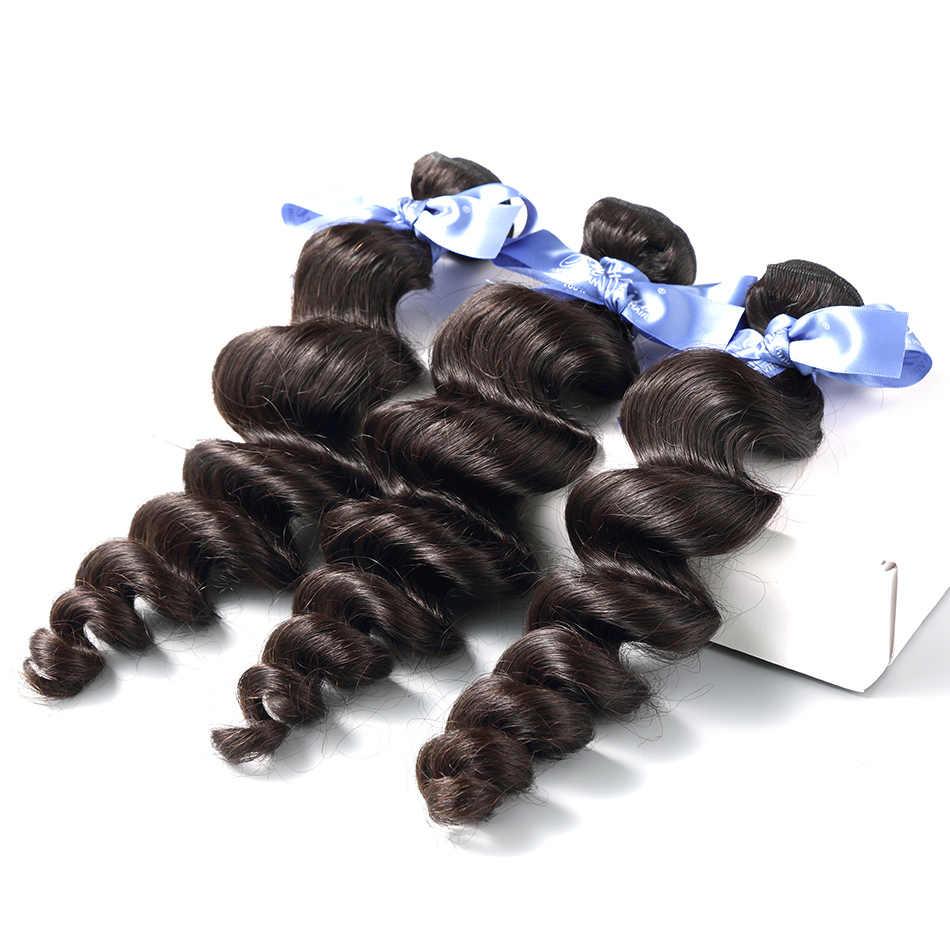 Pelo de ILARIA 7A paquetes de cabello virgen malayo onda suelta 1 Pc 100% armadura de cabello humano paquetes de extensiones de cabello humano Natural color
