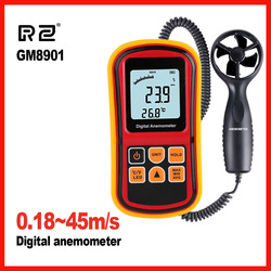 High quality Anemometer Wind Speed GaugeTemperature Measure Digital 45 m/s thermometer Handheld Measuring tool GM8901