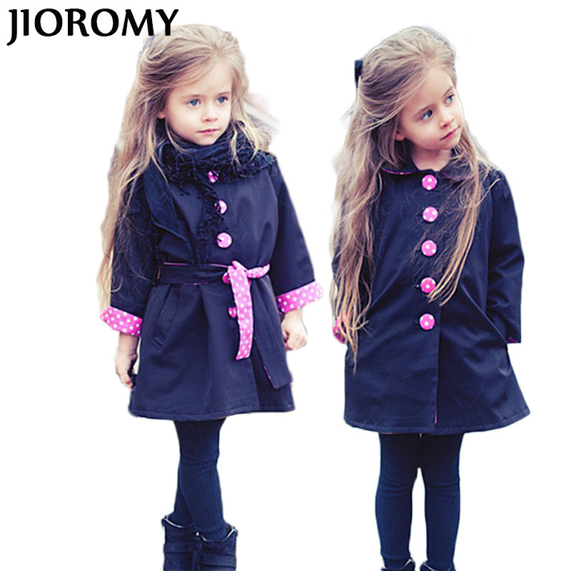 JIOROMY 2018 New Fashion Windbreaker for Girls Spring Autumn Kids Wind Coats Vogue Trench Bowknot Long Sleeve Childrens Jacket