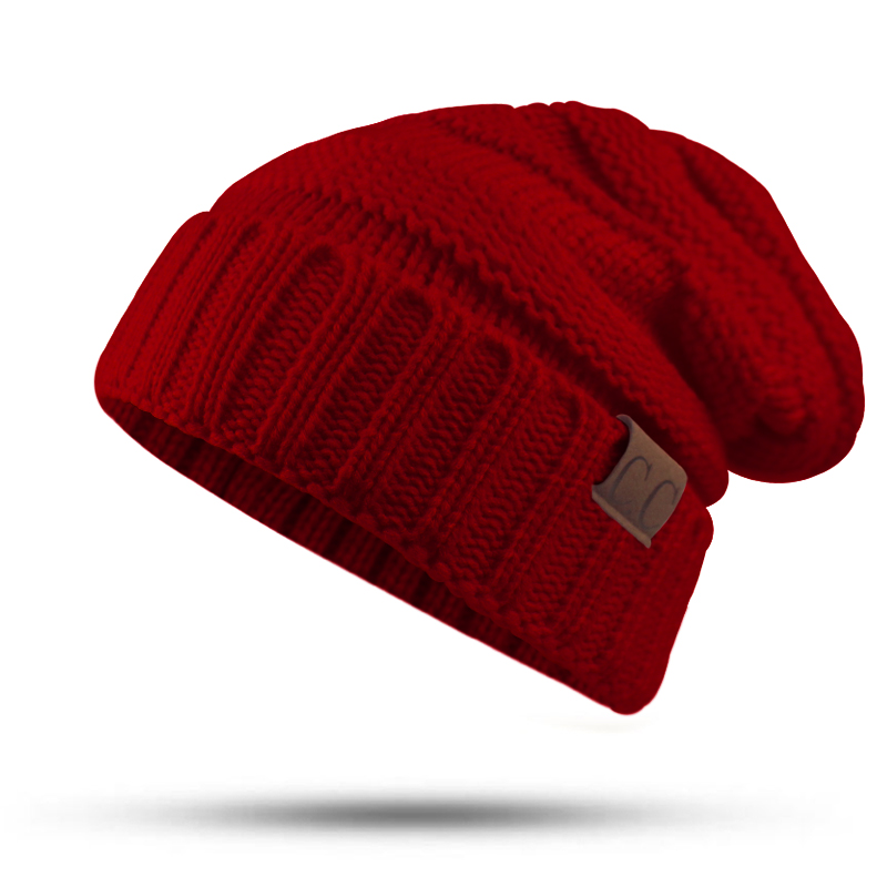 CC Labeling Winter Hat Female Male Unisex knitted Skullies Casual Hat For Men Women Solid Pink Skullies Autumn Beanies Caps skullies