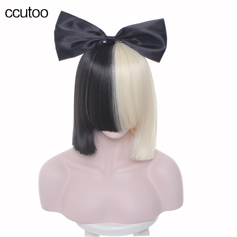 ccutoo 38cm Sia Females Half black and blonde short bobo synthetic hair full bangs heat resistance cosplay wig+bow