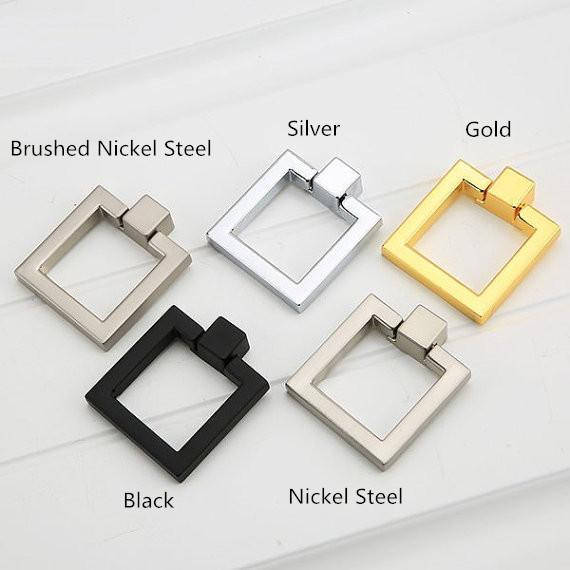 Square Drop Rings Pulls Knobs Cabinet Door Knobs Handles Dresser Knob Pulls Drawer Handles Knob Silver Gold Black Furniture gold silver porcelain dresser knob drawer pulls handles white ceramic kitchen cabinet knobs furniture knob handle