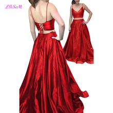 Spaghetti Straps V-Neck Prom Dresses 2019 with Pockets Long Two Pieces Formal Satin Bridesmaid Backless vestidos