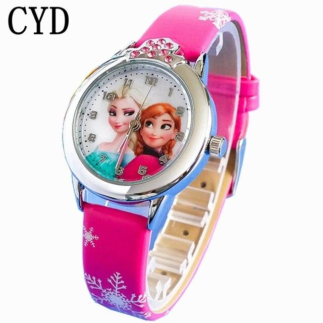 2018 New Cartoon Children' Watch Cute Princess Elsa Crystal Wristwatch Fashion G