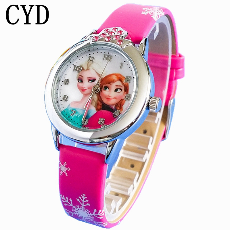 2019 New Cartoon Children' Watch Cute Princess Elsa Crystal Wristwatch Fashion Girls Kids Leather Quarts Watches Sports Clock