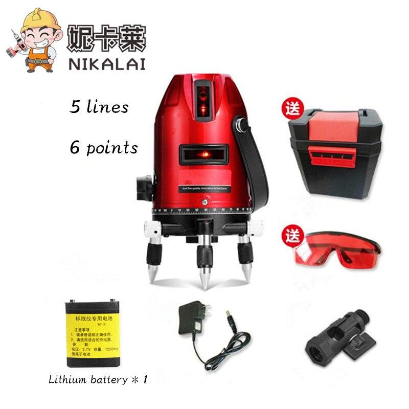 new 5 Lines 6 Points Laser Level lithium battery Tilt Slash Function 360 Rotary Outdoor Self