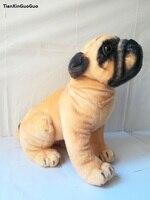 large 35x30cm squatting dog pug doll plush toy throw pillow Christmas gift w0882