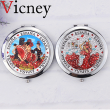Vicney New arrival Classical Style Makeup Mirror Portable Stainless Steel Double Faced Folding Vintage Pocket Cosmetic Mirrors