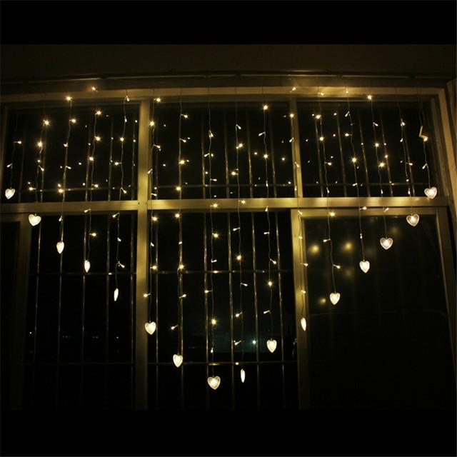 En Forma de Corazón romántico 1.85 M 16 de Caída Amor LED Cadena de Cortina de Luz de Navidad LED Luces de Hadas para la Fiesta/Ventana/de la boda