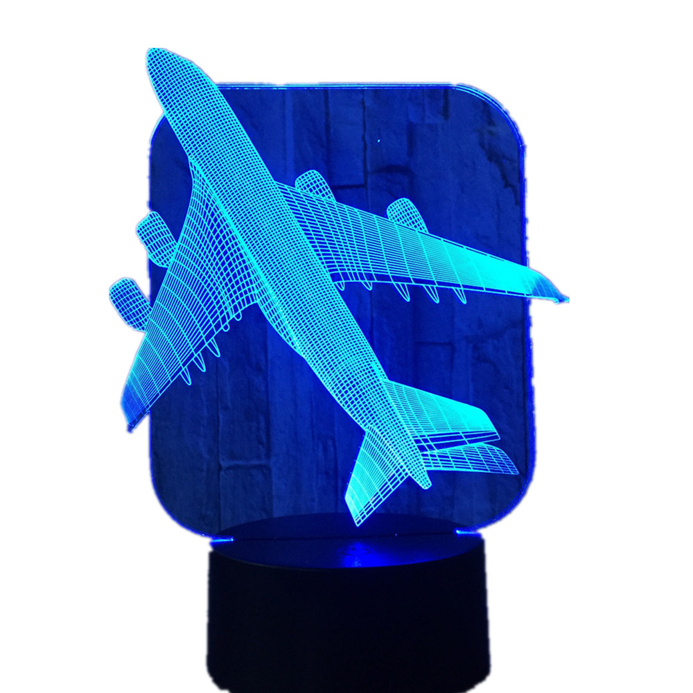 3D Aircraft Warplane Model Creative Night Light Touch Jet Plane Desk Lamp LED Illusion Lamp Bedside Lamp Cool Toy 50% Discount