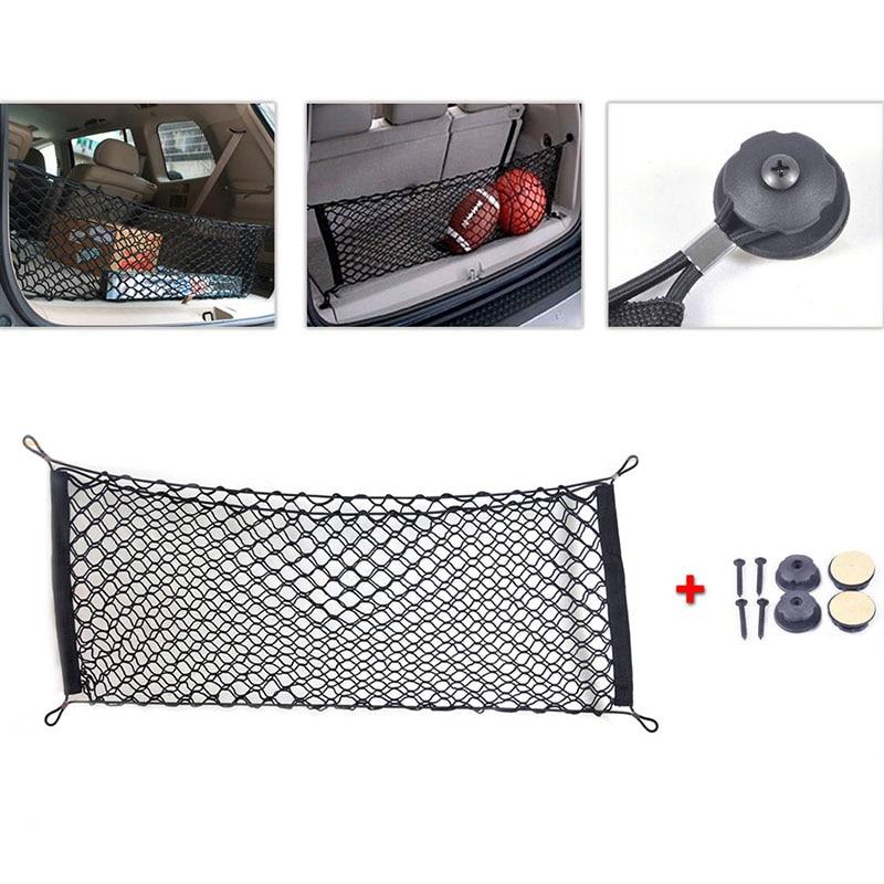40 * 100cm aploksnes stila universālā bagāžas nodalījuma neto automašīnas acu krātuves organizators ar montāžas skrūvi melnā neilona stumbra krātuvē
