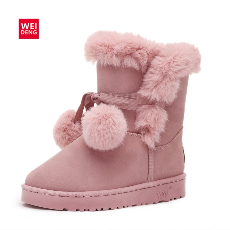 WeiDeng Cute Suede Winter Boots Snow Fur Keep Warm Cotton Women Shoes Ankle Female Platform Casual Flats Slip On Pink 2017 fine zero spring women casual suede genuine leather platform flats tassel wedge slip on ladies creepers shoes red fur winter