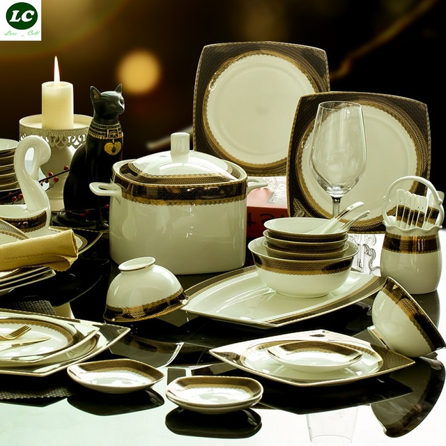 Kitchen Dish Sets Step Stool Plates And Dishes Set Ceramic Bone China Combination Luxury Design Dining Bar Tableware Dinnerware 58pcs