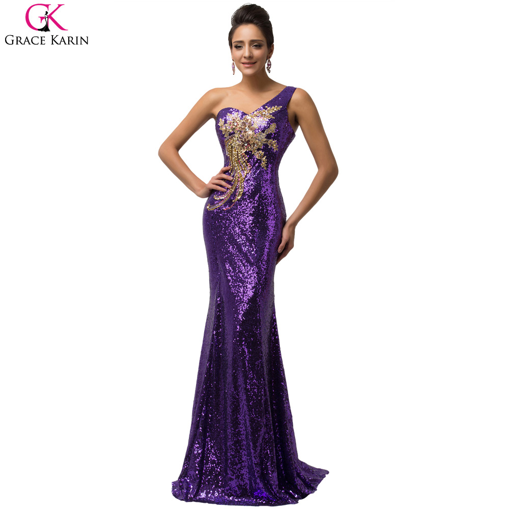 Wedding Purple Sequin Dress online get cheap purple sequin dress aliexpress com alibaba group one shoulder evening dresses grace karin green elegant formal gowns celebrity robe de soiree