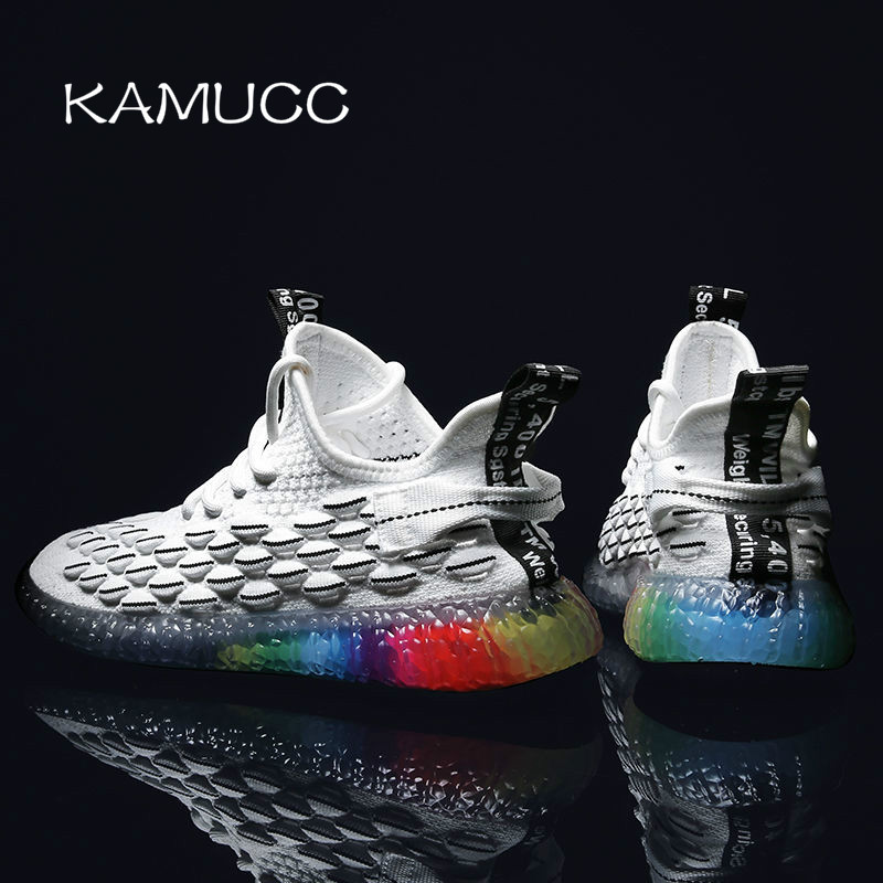 2019 New Men Casual Shoes Breathable Male Shoes Fashion Rainbow Sole Shoes Lightweight Comfortable Breathable Walking Sneakers