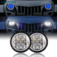 FADUIES 7 5D LED headlight H4 headlamp with Blue DRL for 07 17 Jeep Wrangler JK For UAZ 4x4 Jungle Lada 4x4 urban Niva