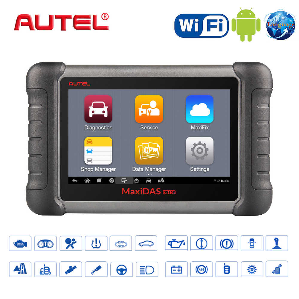 Nieuwe 100% Originele Autel Maxidas DS808K Automotive Scanner Auto Diagnostic Tool Voor Alle Systeem OBD2 Scanner Connector Stethoscoop