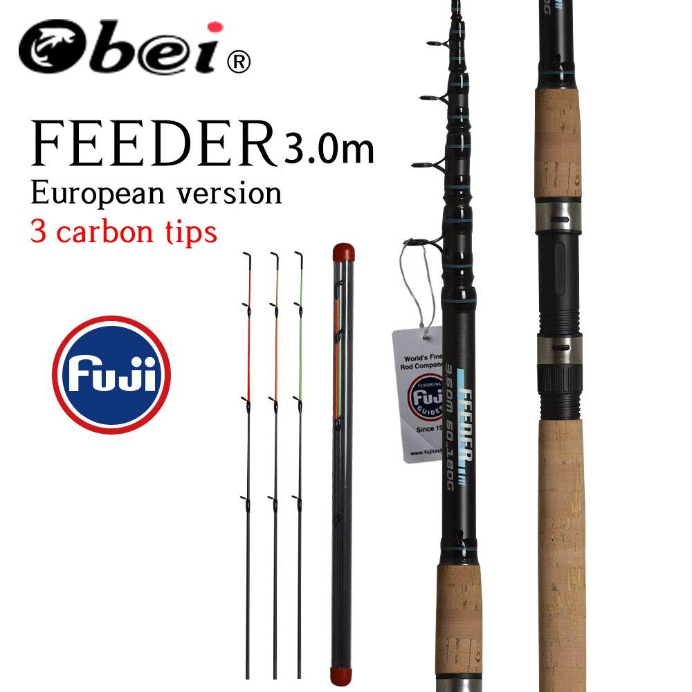 OBEI Feeder fishing rod telescopic spinning casting Travel Rod 3 0m vara de pesca Carp Feeder