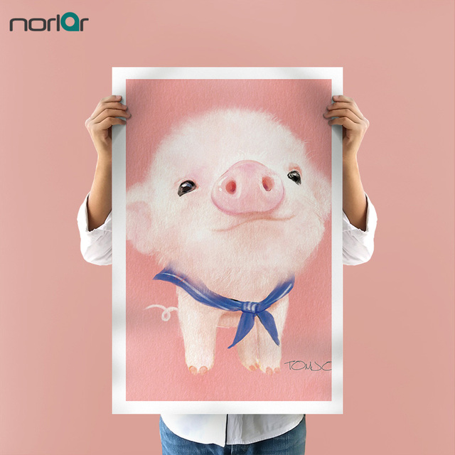 Cute Pink Pig Poster Lovely Cartoon Animal Canvas Art Print Painting ...