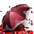 2016 Folding Lace embroidery umbrella rain women Multifunction Windproof Anti-UV Sunny and Rainy Umbrella