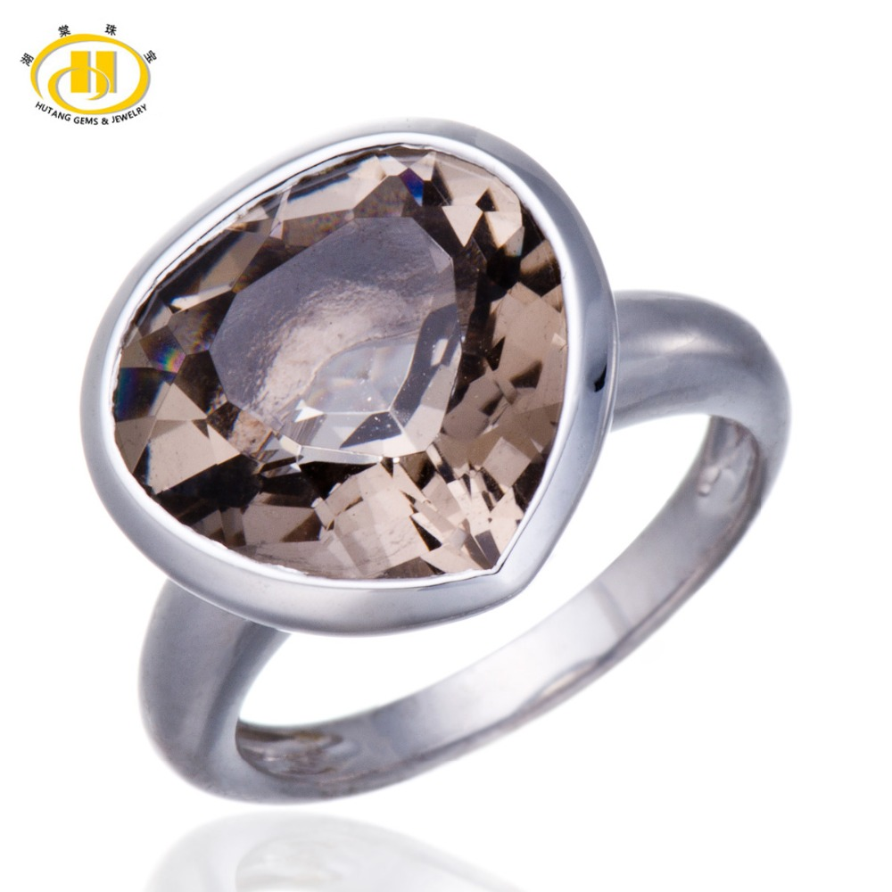 Hutang Smoky Quartz Rings 7.75ct Natural Gemstone Love Heart Style Silver 925 Ring For Women Men Jewelry Punk Anel Bijoux 2017 punk style pure color hollow out ring for women
