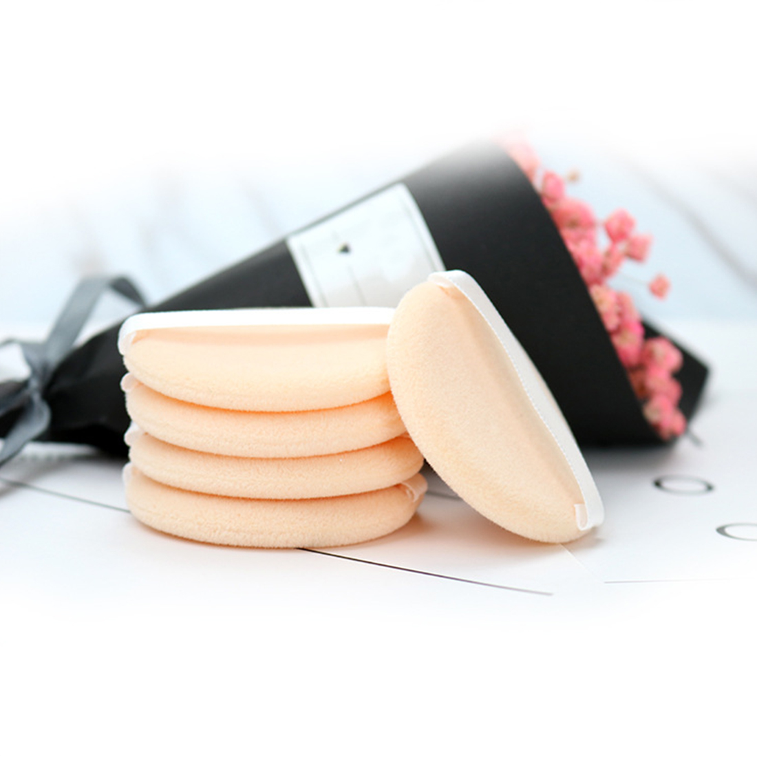 Woolen Cloth Soft Skin-friendly Face Smooth Foundation Powder Cosmetic Puff Organic Cotton Pads Makeup Sponge Puff Beauty 5PCS image