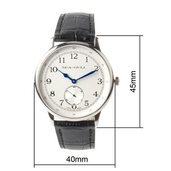 Seagull Small Second Hand Arabic Numerals Ultra Thin 8MM Genuine Leather Band Mechanical Hand Wind Men's Dress Watch D819.621