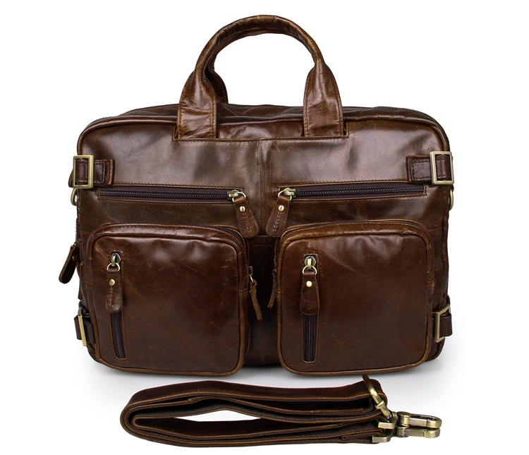 Hight Qualität Brown Echtes Leder Herren Multifunktions Aktentasche Laptoptasche # 7026C