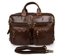 цена на Free Shipping Hight Quality Brown Genuine Leather Men Multifunction Briefcase Laptop Bag # 7026C