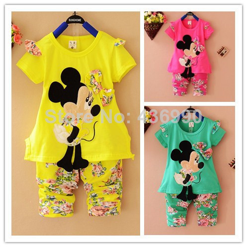 3a5ac32ea Summer 2014 Cartoon Minnie Mickey mouse clothes suits Baby Girls shirt +small  calico short pants Cute Kids tracksuits