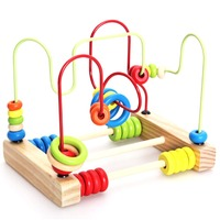 Wooden Baby Math Toys Wire Roller Coaster Wooden Math Educational Toy Counting Circles Bead Abacus Wire