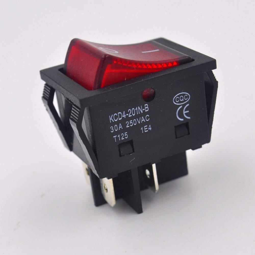 Сверхмощный 4-контактный рокерный выключатель 30А/250 В, светильник