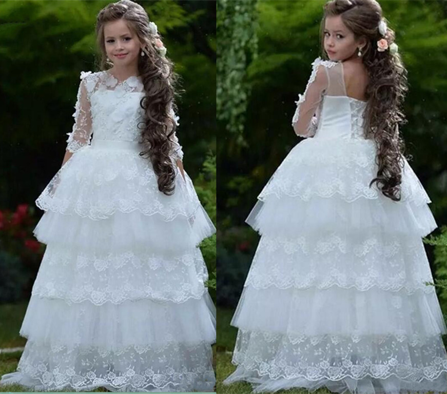 New 3D Flowers White Flower Girl Dress Layers Lace Sheer Neck Ball Gown Girls Party Dress Christmas Communion Birthday Gown 5 14y high quality boys thick down jacket 2016 new winter children long sections warm coat clothing boys hooded down outerwear