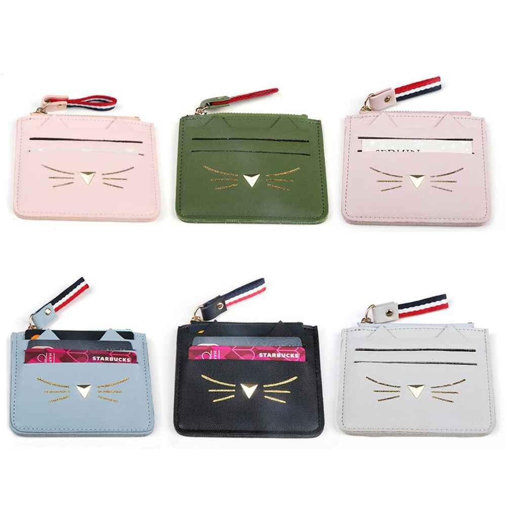 女性素敵な猫耳現金コイン財布財布ミニクレジットカードホルダー新財布クレジットカードミニバッグ