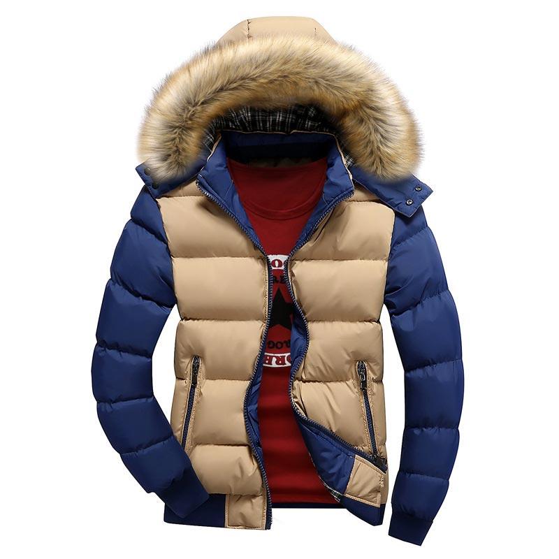 Thickened Warm Winter Parkas Men Coat 2019 Fashion Mixed Colors Parkas Men Winter Jacket Hat Detachable Zip Jacket Men Clothes
