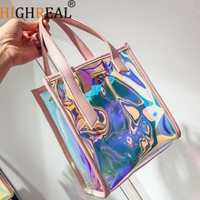 Women Transparent Bag Clear PVC Jelly Tote Messenger Bags Laser Holographic Shoulder Bags Female Lady Sac Femme Bandoulier