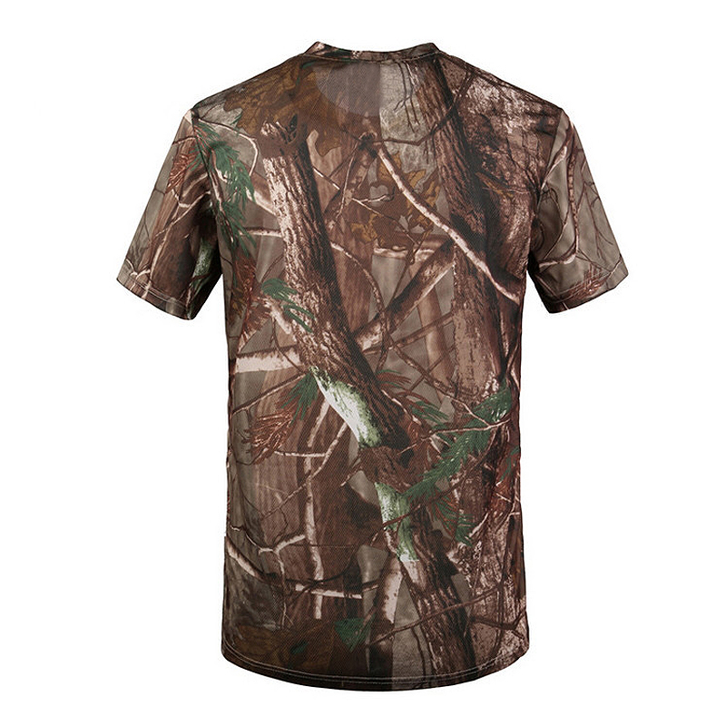 New Outdoor Hunting T-shirt Men Breathable Army Tactical Combat T Shirt Military Dry Sport Camo Camp Tees-Tree camouflage 1