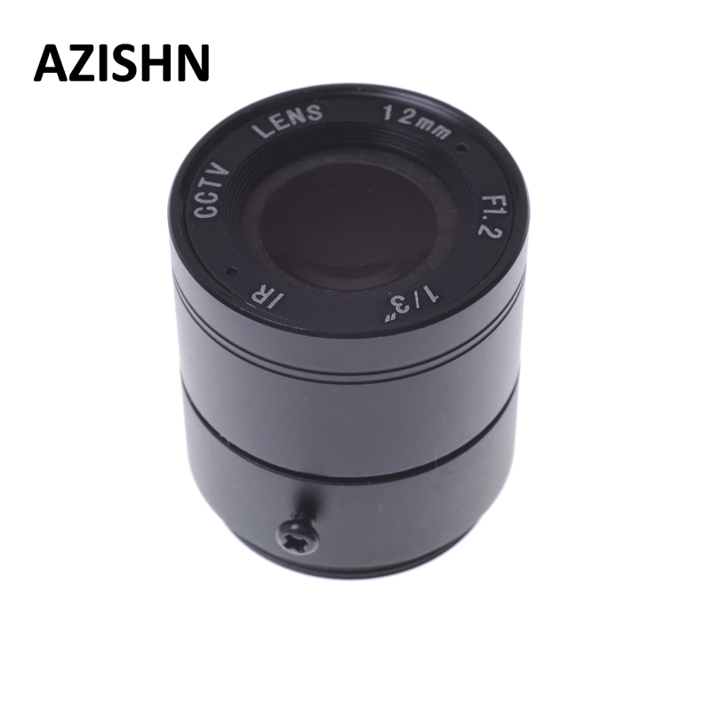 Cctv lens 1/3 F1.2 CCTV Fixed Iris IR Infrared 12mm CS Mount Lens For Security CCTV Camera free shipping 6 pcs 1 3 f1 6 cs fixed iris 16mm ir lens cctv camera professional lens