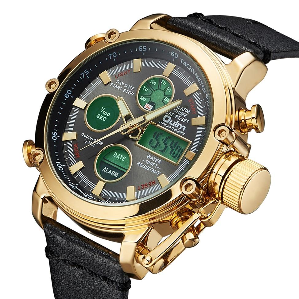 2019 OULM militares de gran tamaño doble de tiempo de reloj Digital alarma calendario impermeable multifunción relojes para hombre marca de lujo