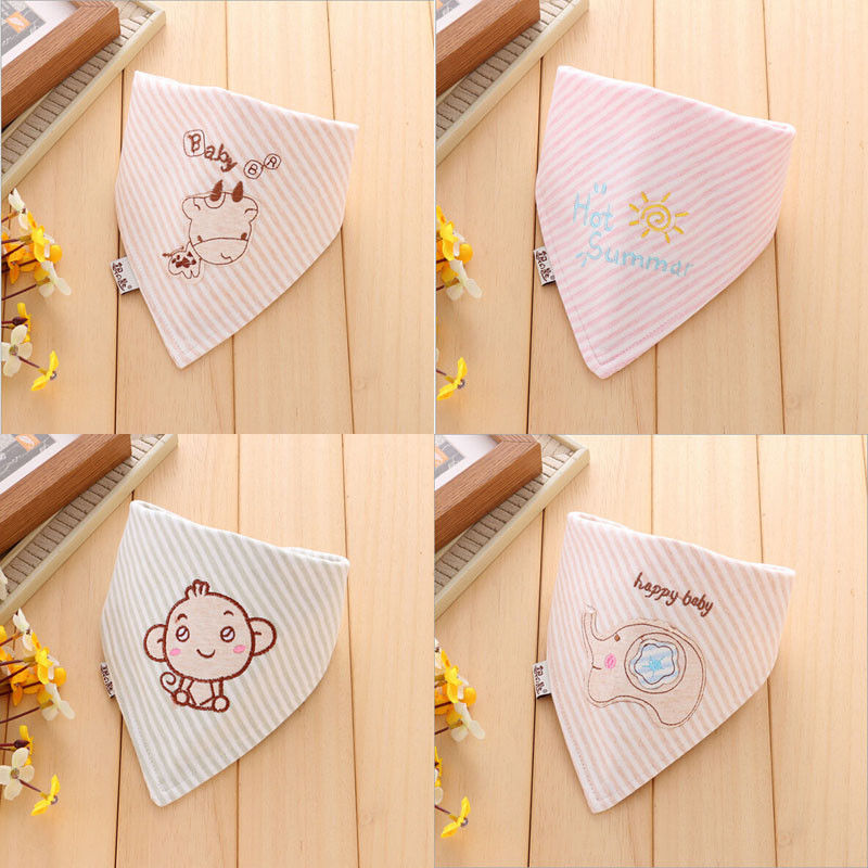 Cute Cartoon Bibs Feeding Saliva Towel Dribble Triangle Bandana Unisex Infant Baby Head Scarf
