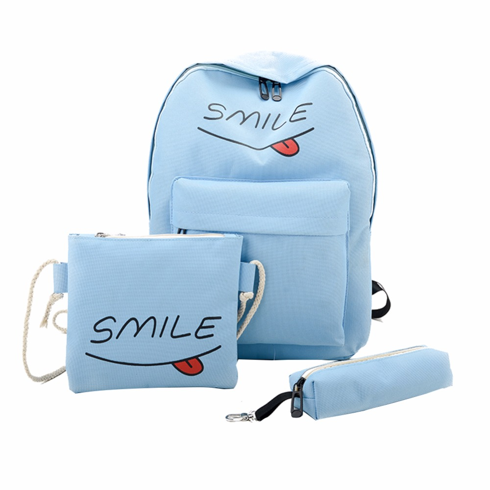 3pcs Women Canvas Casual Smile Letter Backpack Teenager Girls Lovely Pink School Bag Female Shoulder Bag Pen Bag