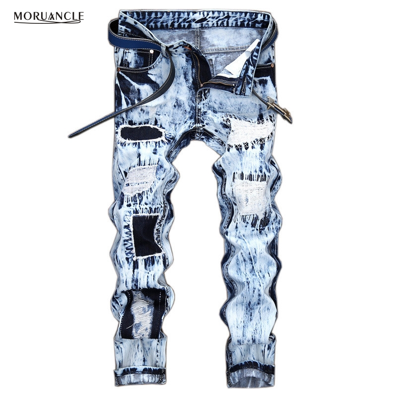 MORUANCLE Hi Street Mens Ripped Jeans Pants Light Blue Distressed Patch Jeans Fashion Designer Trousers With Holes Stone Washed fashion brand designer mens torn jeans pants hi street ripped denim joggers gray distressed jean trousers man streetwear lq076
