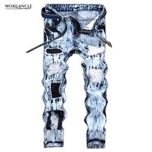 MORUANCLE Hi Street Mens Ripped Jeans Pants Light Blue Distressed Patch Jeans Fashion Designer Trousers With