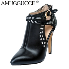 2019 New Plus Big Size 34-47 Black White Buckle Crystal Fashion Sexy High Heel Spring Autumn Lady Female Ankle Women Boots X1631