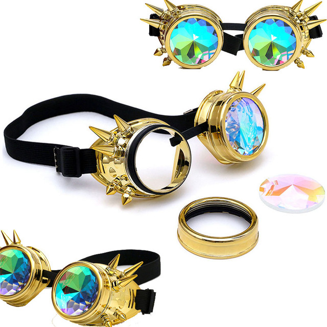 FLORATA Kaleidoscope Colorful Glasses Rave Festival Party EDM Sunglasses Diffracted Lens Steampunk Goggles