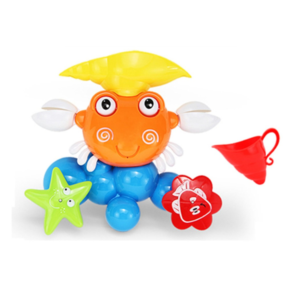Kids Plastic Bathroom Shower Accessories Funny Water Game Bath Toy Gift Cute Crab Rotating Baby Water Game Bath Toy