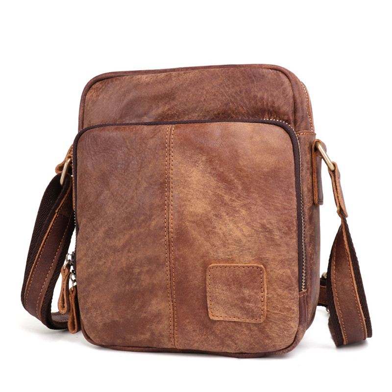 1ec62cbd81 Nesitu Vintage Brown Coffee Genuine Leather Cross Body Small Men ...