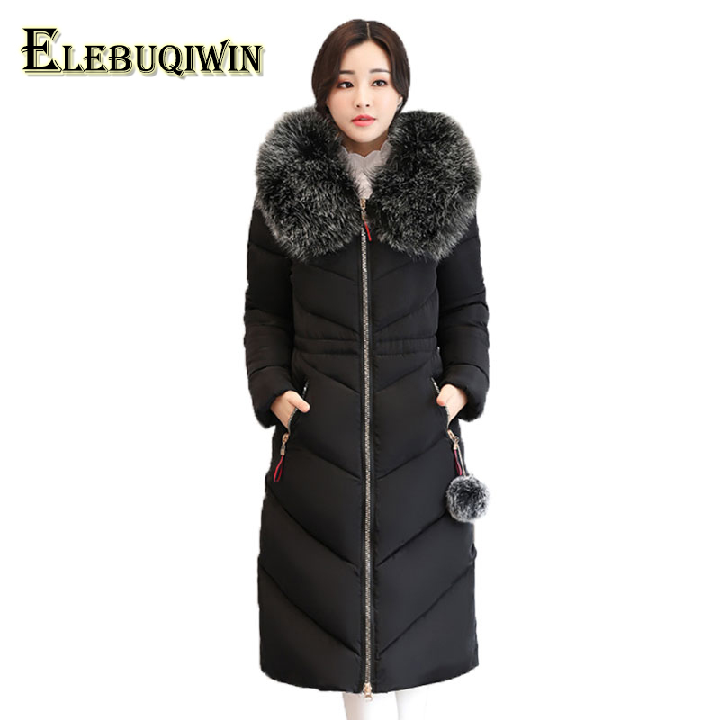 7XL Plus size Womens Down Cotton Jackets 2017 New Big Fur collar Winter Hooded Thick Warm Overcoat Female Long Coats Parkas L185 winter cotton jacket hooded coats women clothing down cotton parkas lady overcoat plus size medium long solid warm jacket female